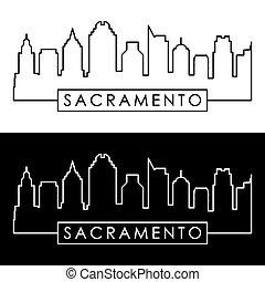 Sacramento skyline. Linear style.