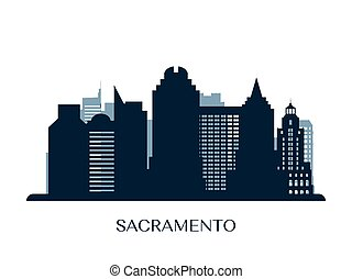 Sacramento skyline, monochrome silhouette.