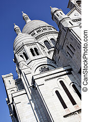 Sacre Coeur Basilica close-up, Paris, France.