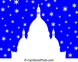 Sacre Coeur Basilica Montmartre in winter illustration with snowflakes