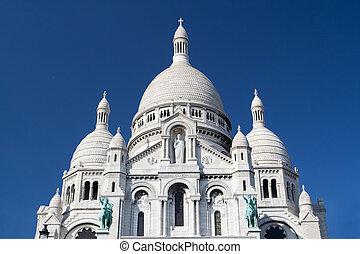 sacre coeur, -, beroemd, kathedraal, in, parijs, frankrijk