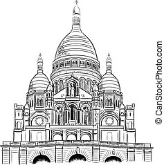 sacre coeur isolated on the white