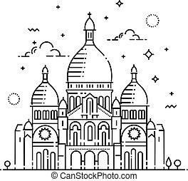 sacre-coeur, line-art, パリ, フランス, minimalistic, ランドマーク, アイコン