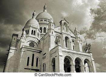"Sacre Coeur basilica, ""Basilica of the Sacred Heart of Jesus"" in Montmartre, Paris."