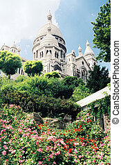 Sacre Coeur cathedral in Paris, France low angle view