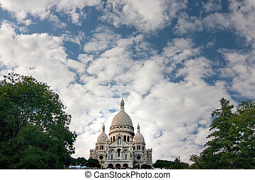 Sacre Coeur With Clouds - Sacre Coeur Cathedral against a...