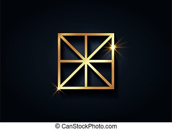 Sacred Center, The Omphalos, gold exoteric symbols, eight linear segments converging towards a central point of a square. Golden Geometry Logo icon isolated on black background