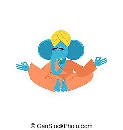 Sacred elephant in India. Ganesha Hindu god of wisdom and prosperity. Animal yoga. Lotus Pose. Zen and relaxation.