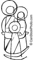 Sacred Family vector illustration - Hand drawn vector...