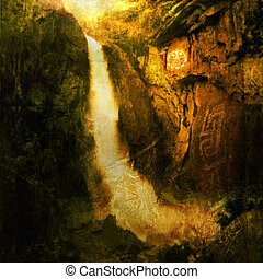 Sacred Flow - Photo based illustration of a large waterfall...