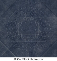 Sacred geometry abstract blue background, vintage style