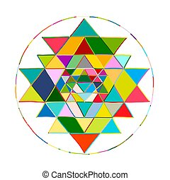 Sacred geometry and alchemy symbol Sri Yantra. Hand drawn...