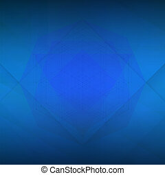 Sacred geometry blue background, yoga or zen template