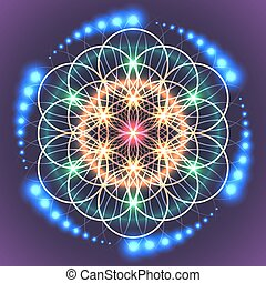 Symbols of sacred geometry, depict fundamental aspects of space and time. Flower of life symbol variations.