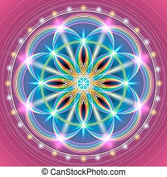 Vector illustration of the sacred geometry of the FLOWER OF LIFE. Geometric figures forming a rainbow flower with decorative elements on a red background.