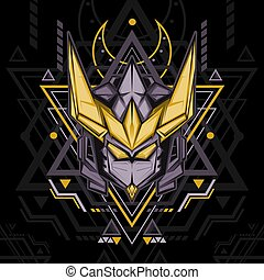 Sacred Geometry Gold Antlers Robot