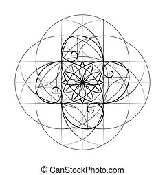 Golden Section. Sacred Geometry. Vector symbol at the intersection for a number of Fibonacci lines. Crossing lines. Intersecting circles. Geometric pattern. Vector illustrations