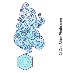 Géométrie sacrée. Icosaèdre dessin à la vapeur magique, ...