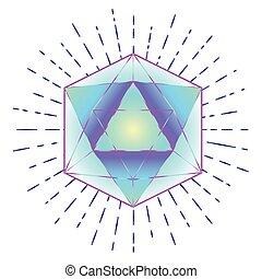 Géométrie sacrée. Dessin au trait d'icosaèdre avec des rayons, ...