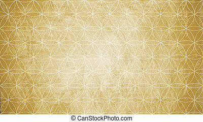 Sacred geometry in flower pattern shape on old paper texture...