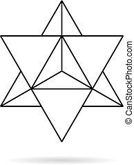 Sacred geometry. merkaba thin line geometric triangle shape....