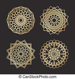 Sacred geometry ornament symbols in gold color on black...