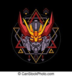 Sacred Geometry Red Antlers Robot