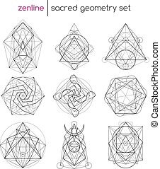 Sacred geometry set - Abstract vector sacred geometrical...