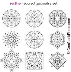 Sacred geometry set - Abstract vector sacred geometrical...