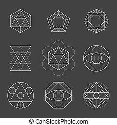 Sacred Geometry Shapes. Spirituality, Alchemy, Religion, Hipster Symbols. Vector
