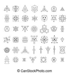 Sacred geometry signs collection. Linear modern art design...
