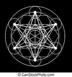 sacred geometry symbol. Metatrons cube on black background design vector illustration