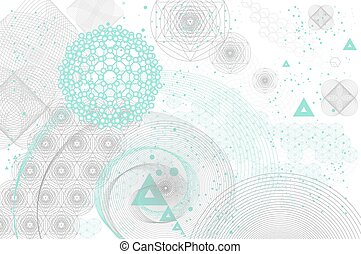 Sacred geometry symbols and elements background. Cosmic,...