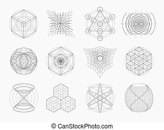 Sacred geometry symbols and elements set. 12 in 1. Alchemy, ...