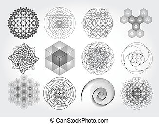 Sacred geometry symbols and elements set. 12 in 1. Cosmic,...