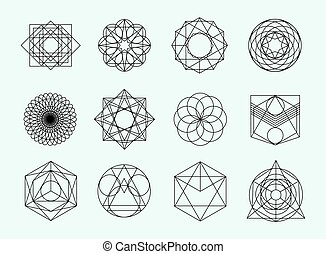Sacred geometry symbols collection. set of hipster, abstract...
