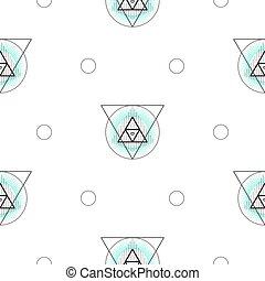 Sacred geometry triangle shapes seamless vector pattern.