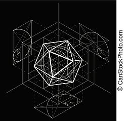 Sacred Geometry. Vector banner for your design Geometric abstraction on a black background. Golden Section. Vector 10 eps.