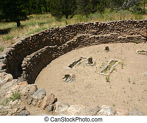Sacred Ground - Ruins of great kiva at Bandelier National...