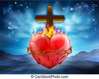 Sacred Heart Christian Illustration - Christian Sacred...