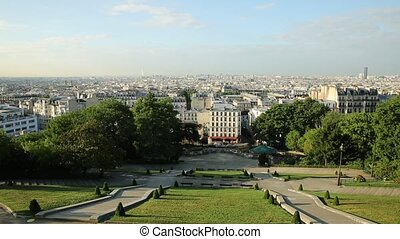 Sacred Heart cityscape of Paris in France, Europe. Skyline...
