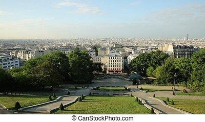 Sacred Heart cityscape of Paris in France, Europe. Skyline...