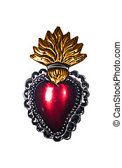 Sacred Heart Gold Flames - Isolated image of a stamped...