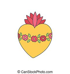 Sacred heart of Mary vector doodle icon - Sacred heart of...