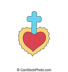 Sacred heart vector doodle icon - Sacred heart vector icon,...