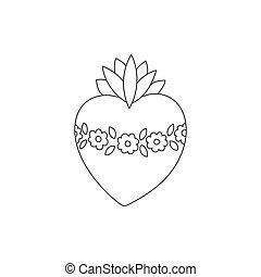 Sacred heart vector doodle illustration , hand drawn saint...