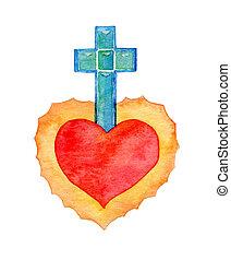 Sacred heart. Watercolor illustration - Sacred heart....