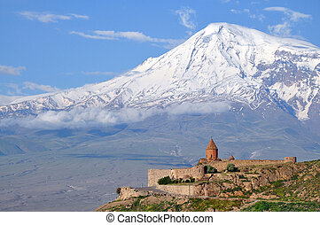 Sacred Khor Virap monastery in Armenia with Ararat