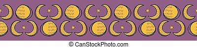 Sacred Lunar Moon Solstice Seamless Vector Border