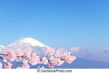 Sacred Mount Fuji and branch of blossoming sakura, Japan